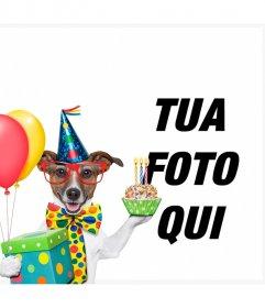 Effetto foto di un cane con la torta e palloncini