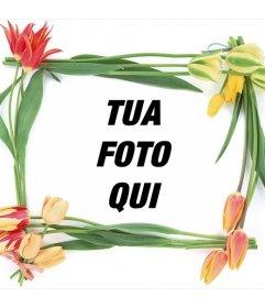 Cornice con fiori di primavera per le tue foto