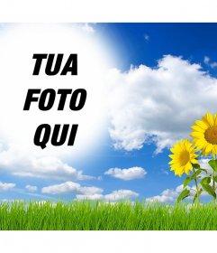 Effetto in linea per modificare e aggiungere la tua foto in un paesaggio con margherite