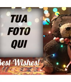 Effetto Foto di un orso con le luci di Natale per la vostra foto