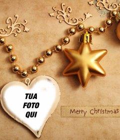 Addobbi natalizi per caricare la tua foto allinterno di un cuore