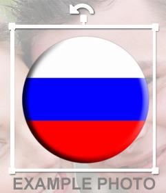 Pulsante decorativo con la Russia la bandiera per incollare nelle foto