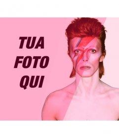 Fotomontaggio con David Bowie, con filtro di colore rosa per aggiungere e modificare le tue foto online