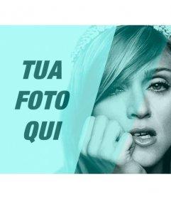 Fotomontaggio con Madonna in bianco e nero con filtro turchese e un buco di personalizzare con una foto e scrivere il testo