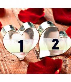 Collage di amore con le vostre due fotografie anello cuori