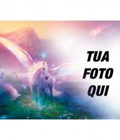 Fantasy fotomontaggio di mettere la tua foto con unicorni bianchi su un paesaggio di sogno fantastico