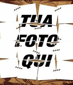Fotomontaggio di una cucita con marrone pergamena immagine di sfondo