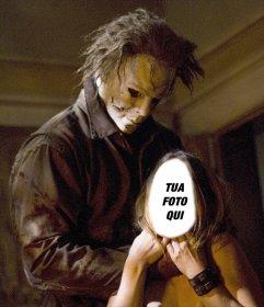 Fotomontaggio di Michael Myers dal film di Halloween per mettere il