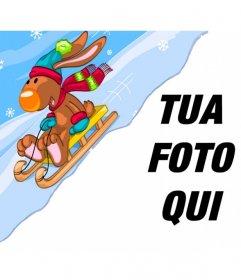 Fotomontaggio Bambino con una renna in una slitta neve