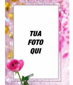 Photo frame con una rosa, circondato da splendide perle e diamanti
