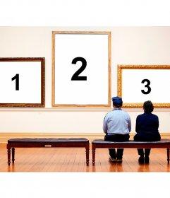 Imposta le tue foto in un museo darte con questo fotomontaggio tre incorniciata