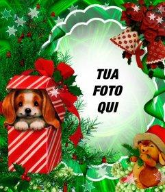 Fotomontaggio Natale con un cucciolo bello come un dono