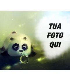 Fotomontaggio con un panda disegnato soffia una bolla di sapone e un buco sulla destra per mettere una foto