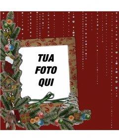 Scheda con il Natale e dettagli lucidi di mettere la tua foto