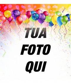 Fotomontaggio festivo con palloncini e colori per inserire limmagine