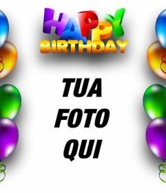 Scheda di compleanno con palloncini e bordo compleanno testo felice in lettere colorate