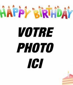 Scheda di compleanno per mettere la tua foto in background. Lettere colorate, candele e una torta!