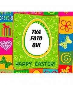 Colorful cartolina vacanze di Pasqua con la tua foto