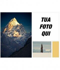 Telaio Indie con collage di inverno, con montagne di neve e paesaggi