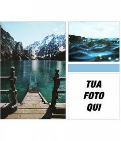 Collage di lago, mare e montagne con un tocco moderno