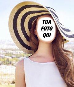 Fotomontaggio per modificare di Lana del Rey in posa sotto il sole con un grande cappello