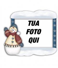 Incorniciare le vostre foto con pupazzo di neve di Natale si può fare on-line e mettere la tua foto