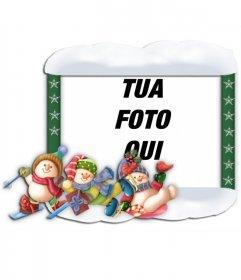 Photo frame di Natale con decorazioni di bambini pattinaggio
