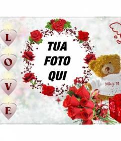 Cornici per foto, con la parola amore, sotto forma di un orsacchiotto con cuori rosa