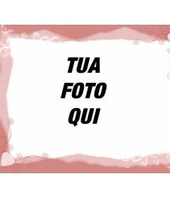 """Template cornice, rosa con cuori. Carica un""""immagine e applicare la decorazione alla foto. È possibile utilizzare l""""immagine risultante, profilo di networking quadro sociale"""