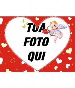 Foto cornice per una foto a forma di cuore e lo sfondo rosso di cuori e Cupido