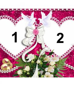 Photo frame con due cuori per San Valentino