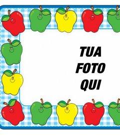 In linea cornice con mele colorate per decorare la vostra foto gratis