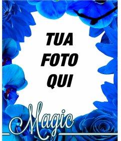 Photo frame fatta di fiori blu come le orchidee e rose di mettere la foto di sfondo