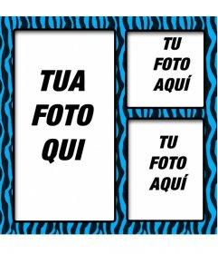 Blu e nero cornice per foto animal print per tre foto