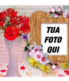 Photo frame con fiori colorati