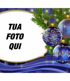 Metti la tua foto accanto a questa carta di Natale con gli ornamenti