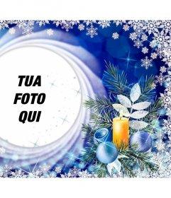 Cartolina di Natale con i fiocchi di neve per mettere la tua foto in un cerchio