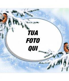 Cornice foto Snowy per personalizzare con due birdie