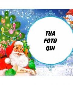 Portafoto con Babbo Natale carico di regali