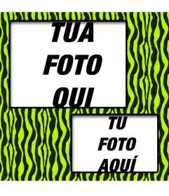 Creare un collage con verde e giallo zebrato e due foto online