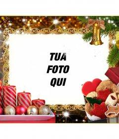 Photo frame di Natale con quattro candele e ghirlande di Natale