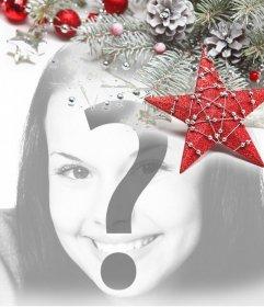 Aggiungere in un angolo delle tue foto ornamenti di Natale in grigio e rosso colore