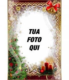 Albero di Natale, candele, buirnaldas e le campane per personalizzare la tua foto on line