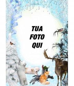 Inverno fotomontaggio con diversi animali