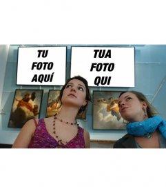 Fotomontaggio di mettere due foto in un museo con due ragazze