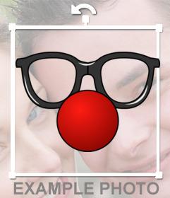 Fotomontaggi online di clown, occhiali e naso rosso