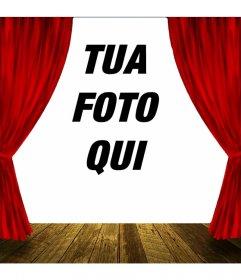 Fotomontaggio con un palcoscenico teatrale