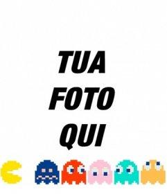 Mettere Pacman inseguendo i fantasmi di colori con questo fotomontaggio linea