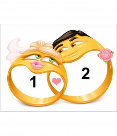 Collage di amore per le due foto con anelli di fidanzamento