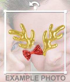 Adesivo natalizio con corna di renna per la tua foto